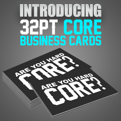 32pt Uncoated Business Cards with Color Core Printed in Full Color on One or Two Sides