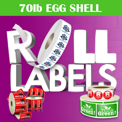 Roll Labels Printed in Full Color on 70lb Egg Shell Adhesive Stock