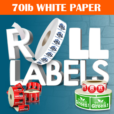 roll labels, roll label printing, roll labels printed 70lb. white paper full color