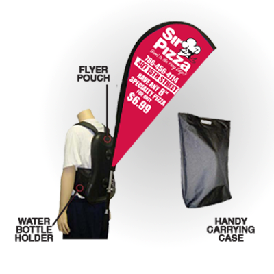 Backpack Banners Printed in Full Color on 9oz Premium Polyester Fabric and comes with a carrying case