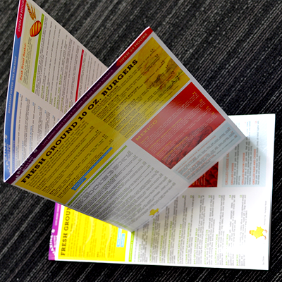 Brochures Printed in Full Color on Premium 14pt Card Stock with choice of UV, UV 1 Side, or Matte Finish