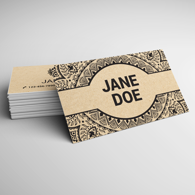 Brown Kraft Business Cards Printed In Full Color On Light Stock With An 18pt Thickness By Elite Flyers