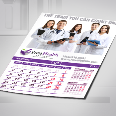Calendar Magnets Printed on Glossy 17mil Magnet Material in Full Color