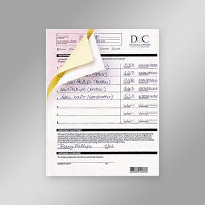carbonless form printing, ncr forms, print forms, duplicate paper printing