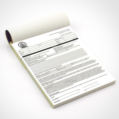 Carbonless NCR Pads Printed on 2 or 3 Part Carbonless NCR Stock, Padded with 25 or 50 Invoices per pad