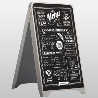 chalkboard sidewalk sign, sandwich board signs, custom chalk board A-Frame sign printed