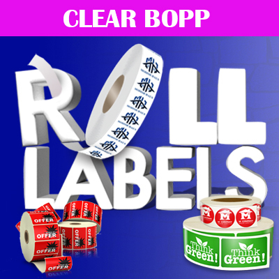 Roll Labels Printed in Full Color on Clear BOPP Adhesive Stock
