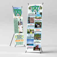 Banners Printed in Full Color on 13oz Vinyl and comes with a Collapsible X-Stand