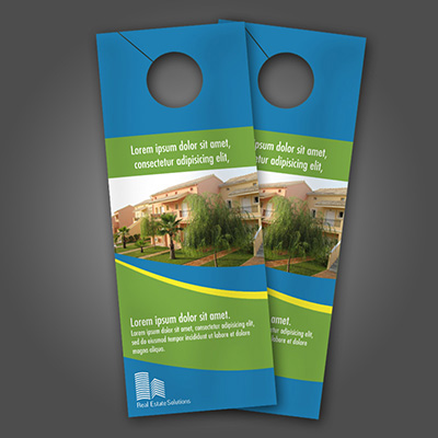 Door Hangers Printed in Full Color on One or Two Sides on 16pt Card Stock with Choice of UV, UV 1 Side, or Matte Finish