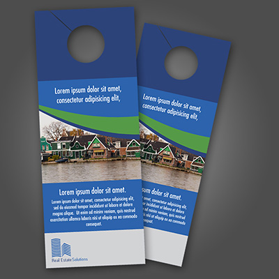 Door Hangers printed on 14pt Uncoated Card Stock with an overall Dull Matte Finish