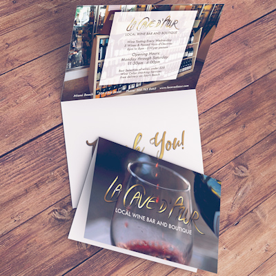 Greeting Cards Printed in Full Color on 14pt Dull Matte Card Stock