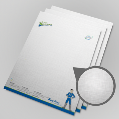 Custom Printed Letterhead Printed in Full Color on 70lb Linen Offset Stock