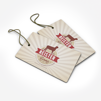 Hang Tags Printed on 14pt Dull Matte Card Stock in Full Color on One or Two Sides