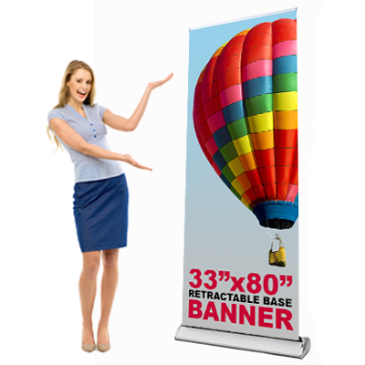 Banners Printed on 10oz Vinyl In Full Color and installed to a Premium Retractable Stand