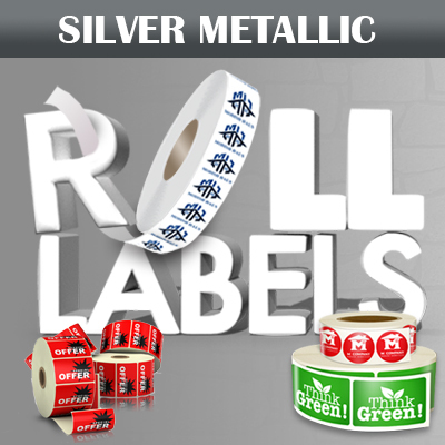 Roll Labels Printed in Full Color on Silver Metallic Adhesive Stock provided on a roll with option for White Ink
