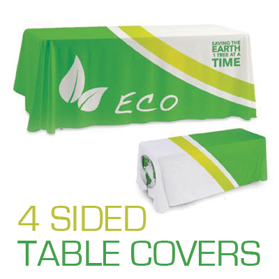Table Covers Dye Sublimation Printed in Full Color 4 Sides on Premium 9oz Polyester Fabric