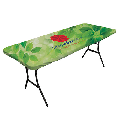 fitted table covers, custom stretch table covers, trade show table
