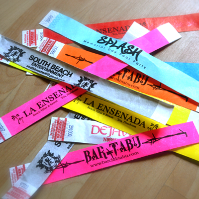 Custom Wristbands Printed with your Logo or Message on an assortment of band colors to choose
