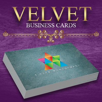 Velvet Business Cards Printed in Full Color on One or Two Sides with 1.5mil Velvet Lamination