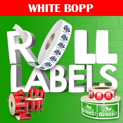 white roll label printing in full color on white adhesive stock