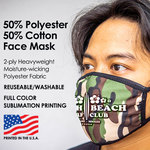 Face mask custom printed with company logo, brand, or design.