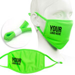 fluorescent green face mask screen printed with company logo