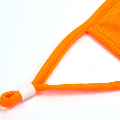 fluorescent orange face mask piping