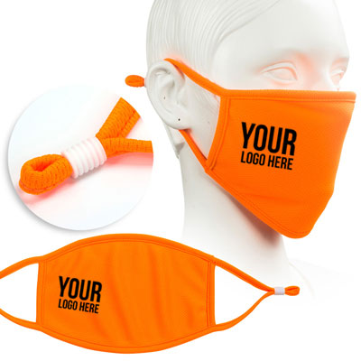fluorescent orange face mask screen printed with company logo