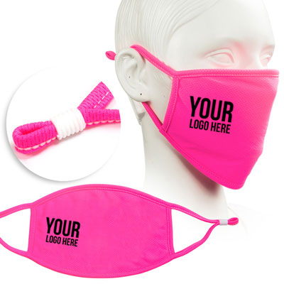 fluorescent pink face mask screen printed with company logo