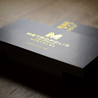 Foil Stamped Business Cards Printed On 14pt Dull Matte