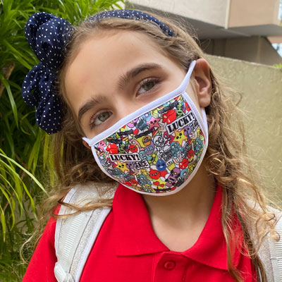 kids face masks with full color custom print