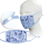light blue youth face mask with screen printed logo or design