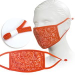 orange youth face mask with screen printed logo or design