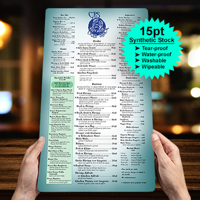 restaurant-menus-printed-in-full-color-on-15pt-synthetic-stock-tear-proof-water-proof-washable-whipable-menus