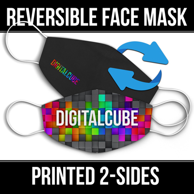 Reversible face masks custom printed on 2-sides.